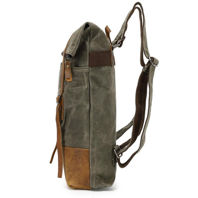 Waxed Canvas Leather Waterproof Tavel 20 to 35 Litre Backpack - InnovatoDesign
