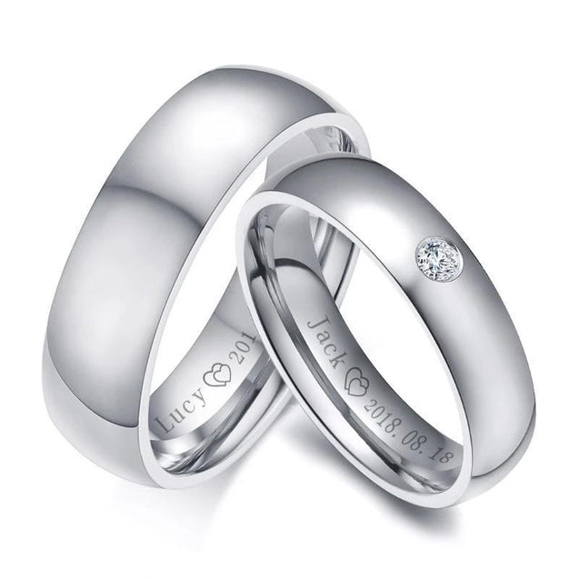 Silver Plated Stainless Steel with Round-Cut Cubic Zirconia Wedding Band - InnovatoDesign