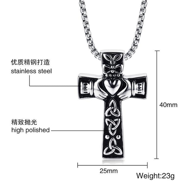 Celtic Claddagh Cross Necklace with Trinity Pattern - InnovatoDesign