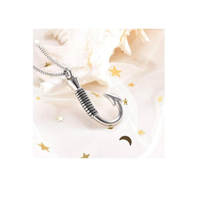 Stainless Steel Fish Hook Memorial Pendant Necklace