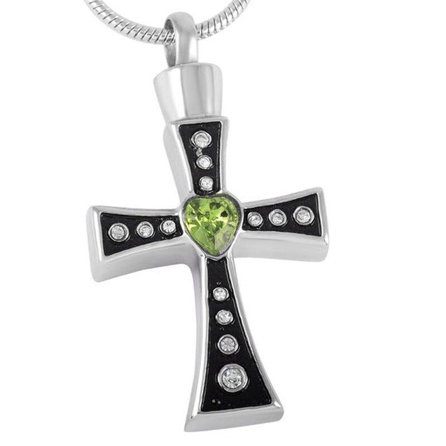 Urn Silver Cross with Green Heart Crystals and Necklace - InnovatoDesign