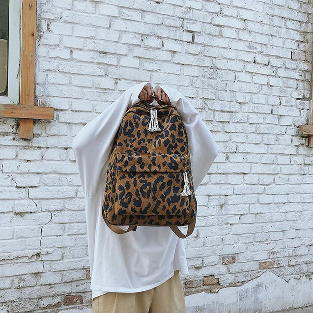 Leopard Print Corduroy Dual-Straps Travel 20 Litre Backpack - InnovatoDesign