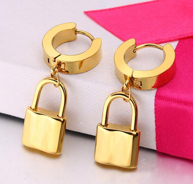 Stainless Steel with Dangle Lock hoop Earrings for Men - InnovatoDesign