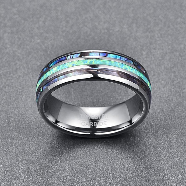 8mm Blue Green Abalone Silver Tungsten Carbide Band - InnovatoDesign