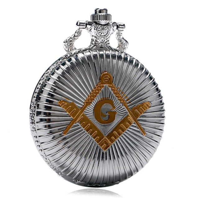 Silver and Gold Plated Masonic Pocket Watch with Silver Chain Necklace - InnovatoDesign