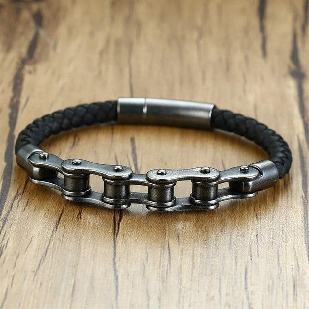 Genuine Leather Biker Chain Bracelet - InnovatoDesign