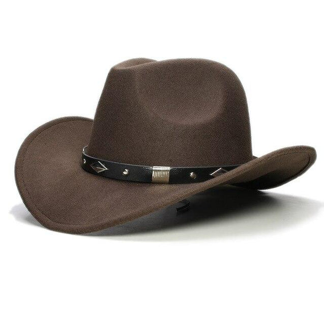 Retro Parent-Child Wool Cowboy Hat with Geometric Pattern Leather Band
