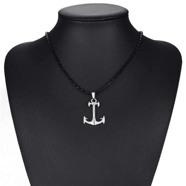 Silver Anchor Pendant with Knotted Leather Rope Necklace - InnovatoDesign