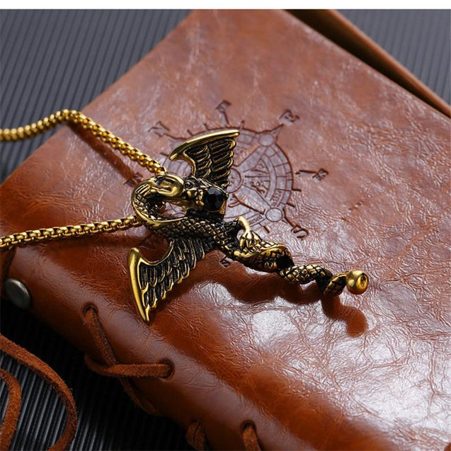 Stainless Steel Winged Dragon with Black Crystal Stone Necklace - InnovatoDesign