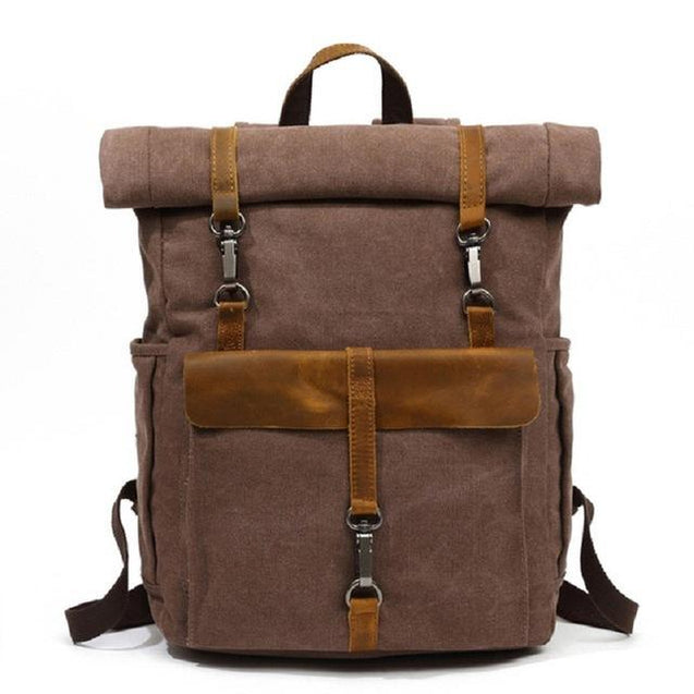 Canvas Leather Travel Daypack 20 Litre Backpack in 5 Colors - InnovatoDesign
