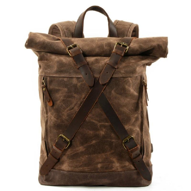 Waxed Vintage Canvas Genuine Leather Waterproof Travel 20 Litre Backpack - InnovatoDesign