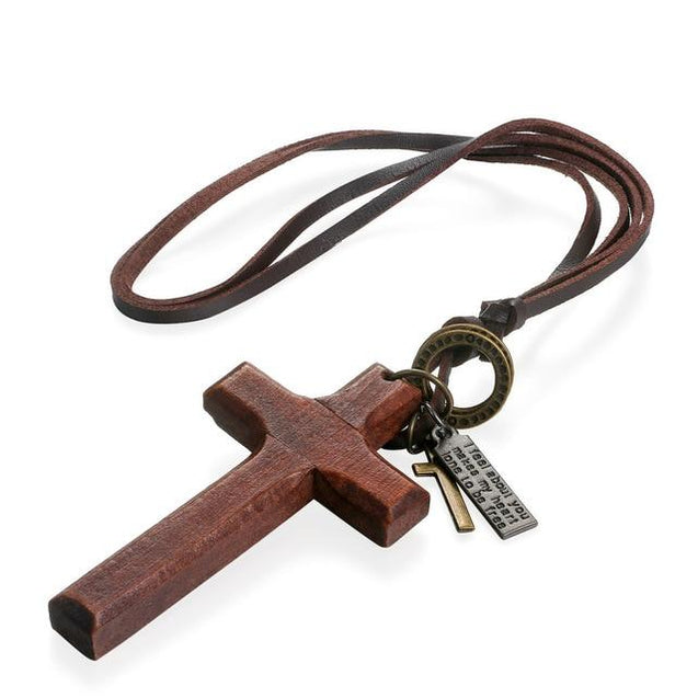 Adjustable Leather Wood Cross Necklace - InnovatoDesign