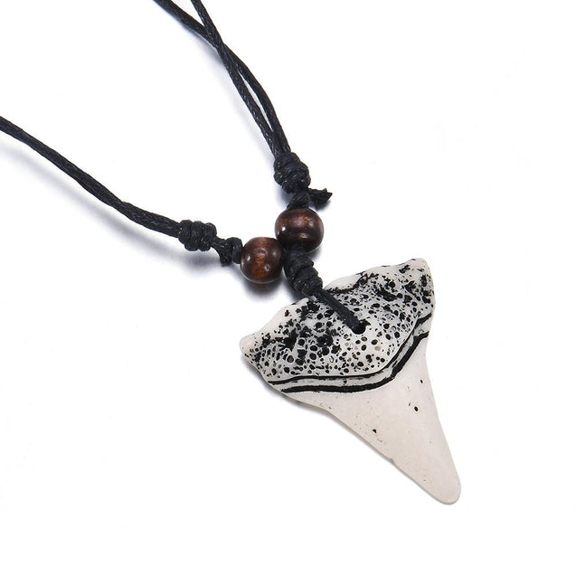 Ceramic Shark Tooth Waxed Cord Rope Necklace - InnovatoDesign