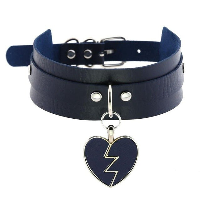 Lightning Heart and Buckle Choker Collar PU Leather Gothic Harajuku Necklace