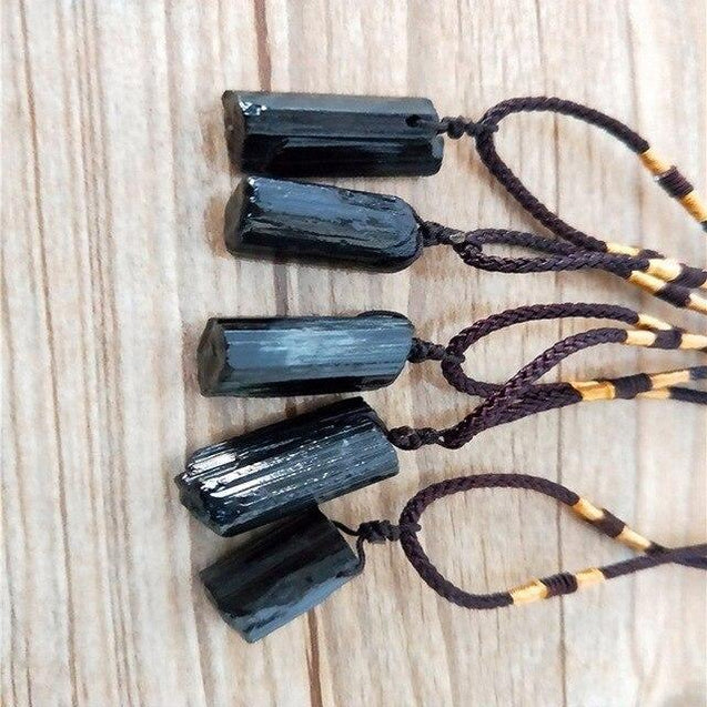 Natural Raw Black Tourmaline Stone Pendant and Rope Necklace