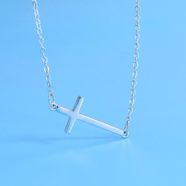 Sideways Horizontal Cross Pendant Necklace - InnovatoDesign
