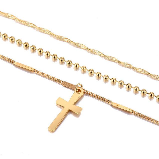 Multi-layer Chain Necklace with Cross Pendant - InnovatoDesign