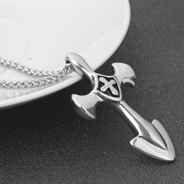 Stainless Steel Silver Knights Templar Cross with Spearhead End Necklace - InnovatoDesign