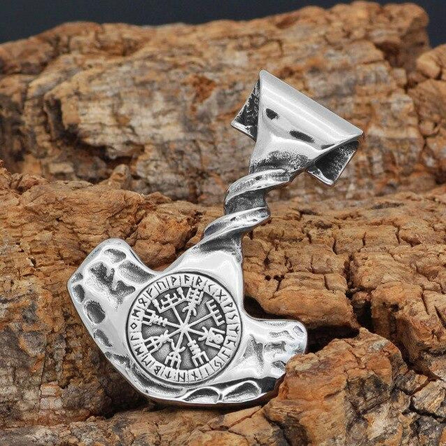 Men's Stainless Steel Nordic Thor's Hammer with Valknut Symbols Pendant Necklace - InnovatoDesign
