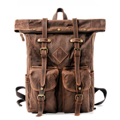2 Colors Large Capacity Genuine Leather and Canvas Travel Backpack - InnovatoDesign