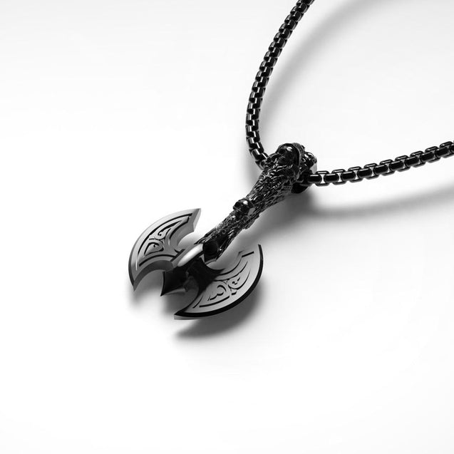 Stainless Steel Viking Axe Pendant and Chain Necklace - InnovatoDesign