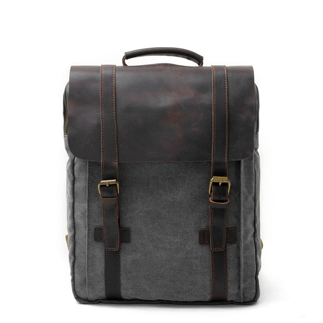 2 Straps Genuine Leather and Canvas Backpack in 4 Colors - InnovatoDesign