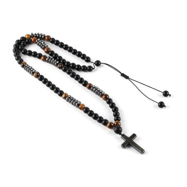 "Long Beaded Hamitate Cross Necklace 38"" inch - InnovatoDesign"