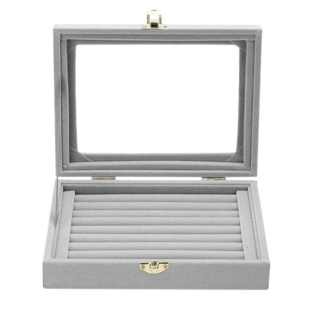 Gray Velvet Jewelry Storage Box with Glass Display - InnovatoDesign