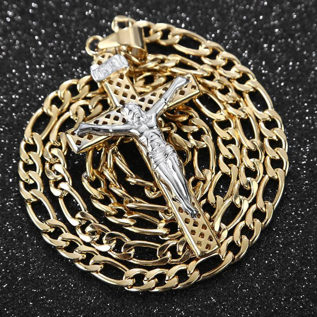 Stainless Steel Jesus Cross Pendant Gold Chain Necklace - InnovatoDesign