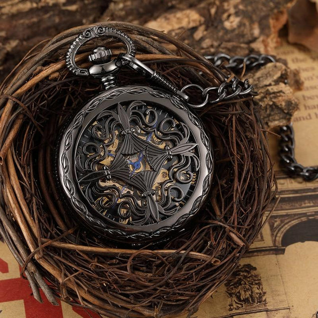 Black and Gold Pocket Watch with Hollow Carved Design - InnovatoDesign