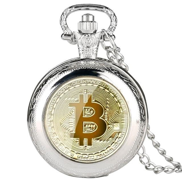 Stainless Steel Pocket Watch with Bitcoin Design - InnovatoDesign