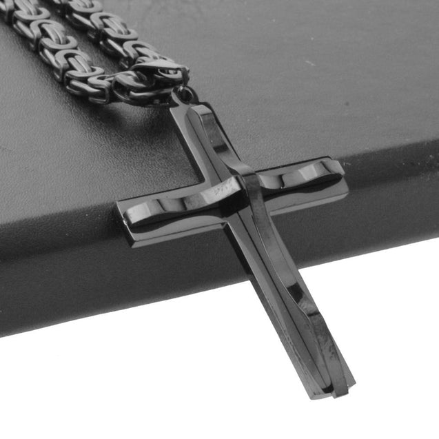 Black & Gold  Cross Pendant with Wavy Metal Overlay and Byzantine Chain Necklace - InnovatoDesign