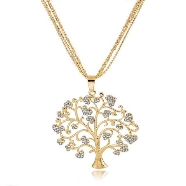 Crystal Tree of Life Pendant Necklace - InnovatoDesign