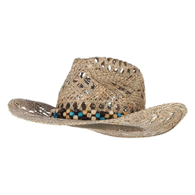 Straw Cowboy Summer Hat with Choice of Wood Beads, PU Leather Band or Rhinestones