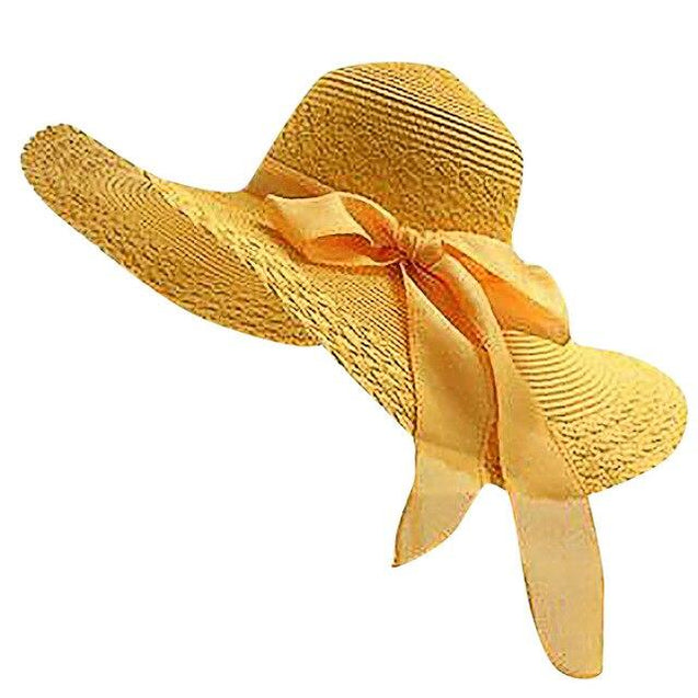 Ladies Wide Brim Floppy Straw Sun Hat with Bowknot