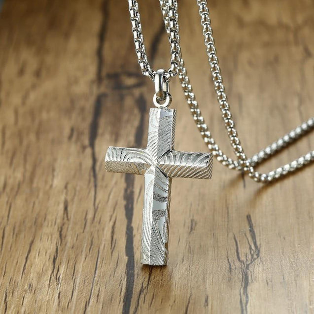 Damascus Steel Cross Pendant with Engraved Zebra Pattern - InnovatoDesign