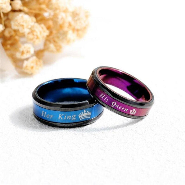 His and Her Blue and Magenta Stainless Steel with Royal Crown Design Couple Ring - InnovatoDesign
