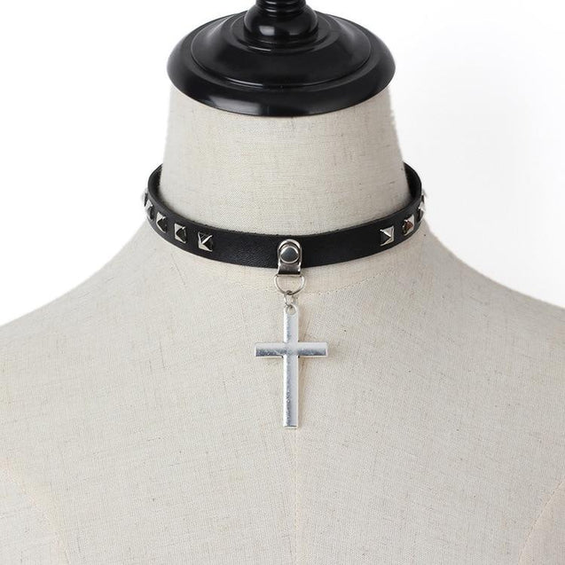 Black Leather Gothic Cross Choker Necklace - InnovatoDesign