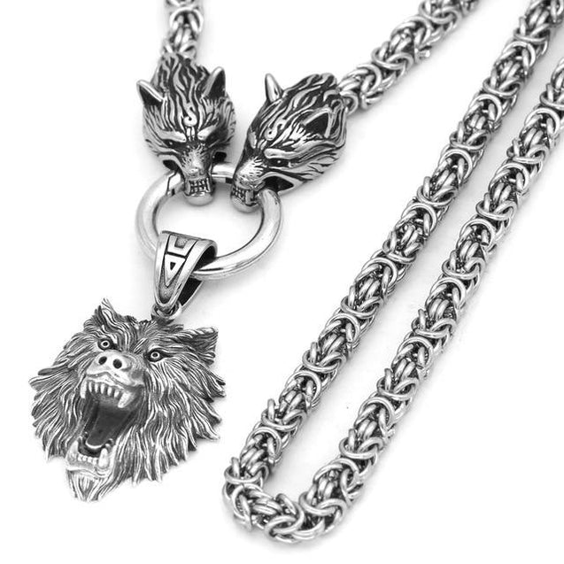 Men's Stainless Steel Two Wolf Heads with Wild Bear Head Pendant Necklace - InnovatoDesign