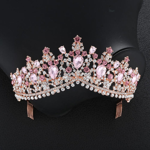 Luxury 8 Color Tiara Crown with Zircon Crystals for Women - InnovatoDesign