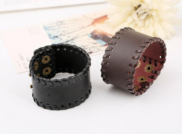 Men's Genuine Leather Adjustable Wide Braided Wristband Bracelet Bangle with Smooth Cuff