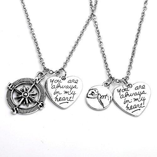 "2pcs/Set ""No Matter Where"" ""You're my person"" Best Friends Lovers Couples Necklace Jewelry Set"