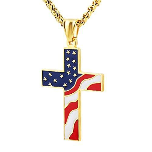 American Flag Patriotic Cross Religious Jewelry Enamel Pendant Necklace