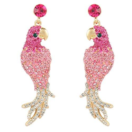 Women's Austrian Crystal Art Deco Parrot Pet Bird Pierced Dangle Earrings Gold-Tone - InnovatoDesign