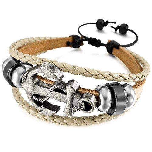 Men,Women's Alloy Genuine Leather Bracelet Bangle Cuff Cord Anchor Nautical Surfer Wrap Adjustable - InnovatoDesign