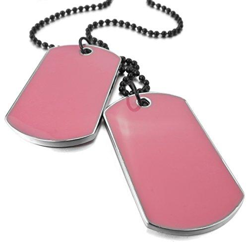 Men's 2 PCS Alloy Enamel Pendant Necklace Army Name Double Dog Tag 27 Inch Chain - InnovatoDesign