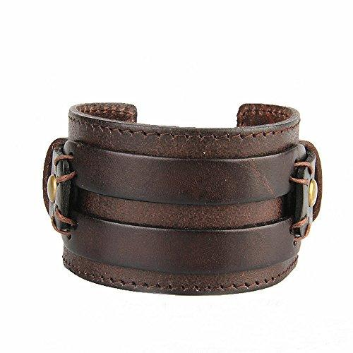 Men's Genuine Leather Adjustable Wide Braided Wristband Bracelet Bangle with Smooth Cuff - InnovatoDesign