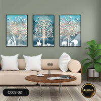 Simple Canvas prints of spring flowers with vibrant leaves and animals