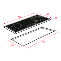 Modular induction hob of 2 zones in 30 cm