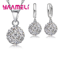 YAAMELI Shiny Latest Jewelry Set Pave Disco Ball Lever Back Earring Pendant Necklace Women